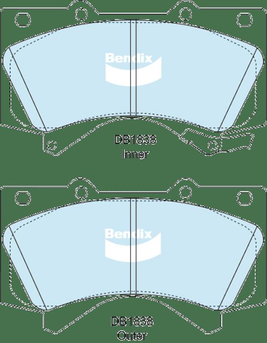 Bendix DB1838-ULT4WD Toyota LandCruiser VDJ200 front brake pads