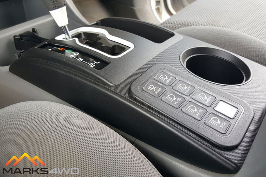 Switch-Pros 8 Switch Panel installed neatly into the console (vertical legend kit is offered as an optional extra)